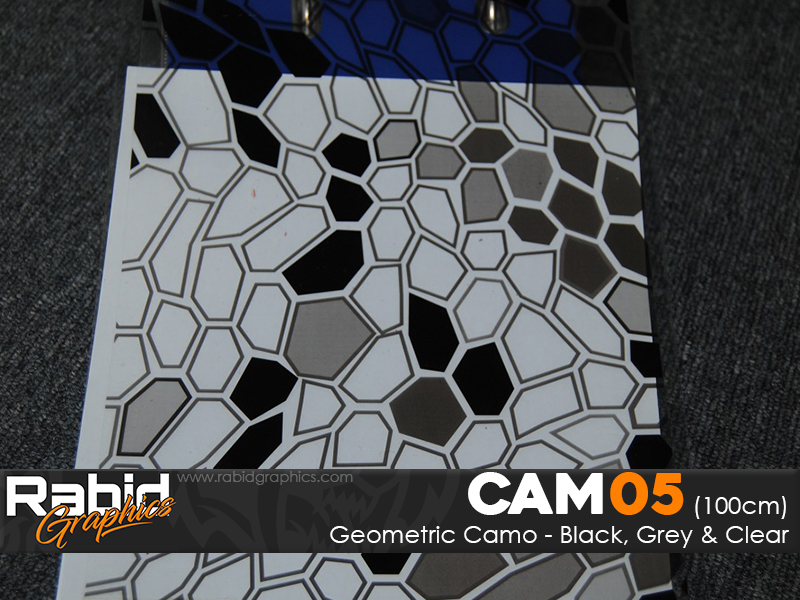 Geometric Camo - Black, Grey & Clear (100cm)