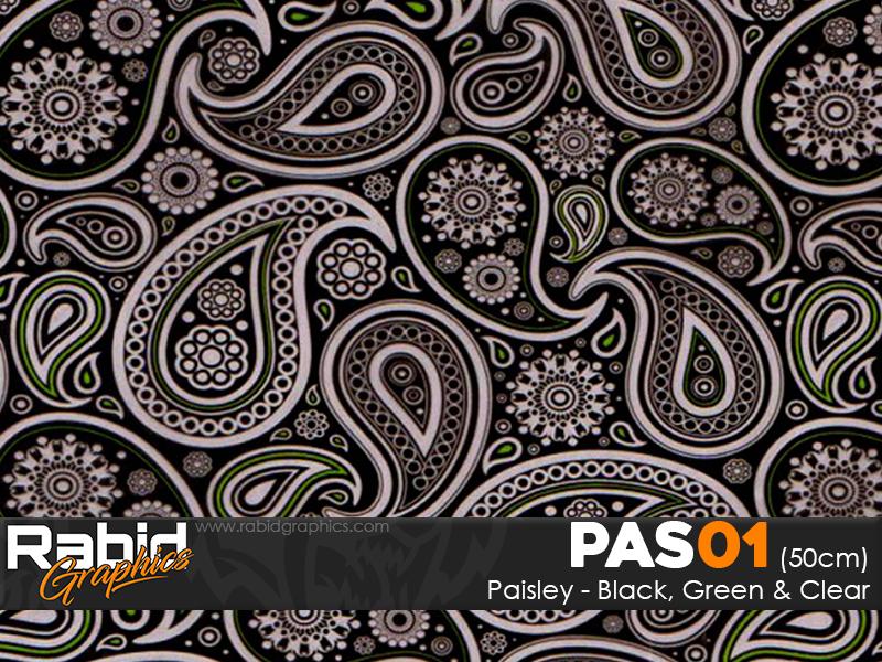 Paisley - Black, Green & Clear (50cm)