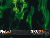 Skulls & Flames - Green (100cm)