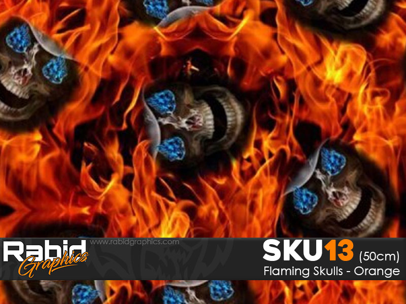 Flaming Skulls - Orange (50cm)