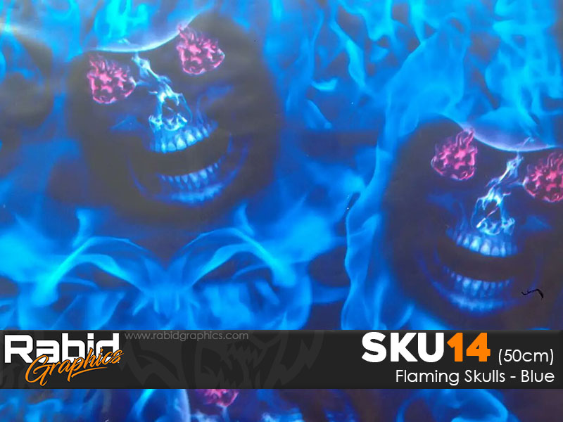 Flaming Skulls - Blue (50cm)
