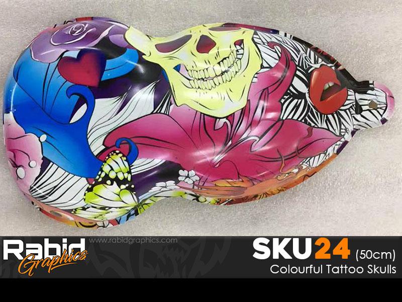 Colourful Tattoo Skulls (50cm)