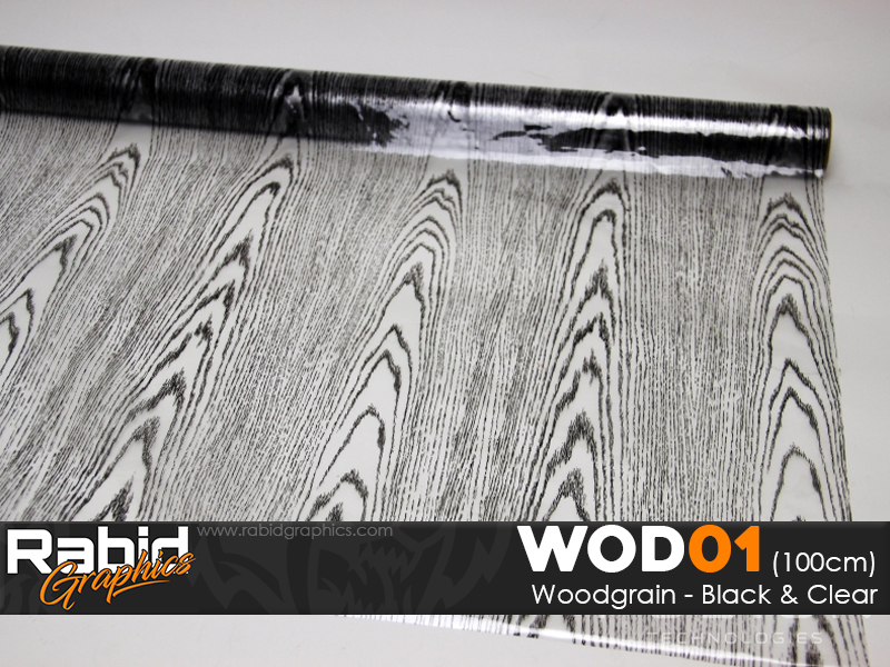 Woodgrain - Black & Clear (90cm)